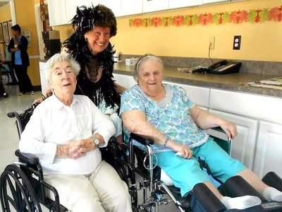 Sharon with residents at Harbor healthcare